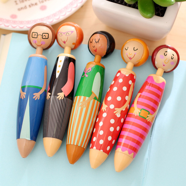 best selling 5 pcs Lot Lovely Doll ballpoint pens for writing Canetas escolar Cute Stationery Office material school supplies papeleria for studen pens