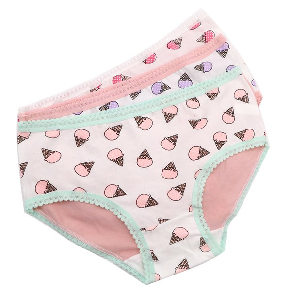 3Pcs Women Sexy Briefs Underwear Ice Cream Cute Pattern Panties Seamless Intimates Panties Ladies Casual Lingerie Underpants
