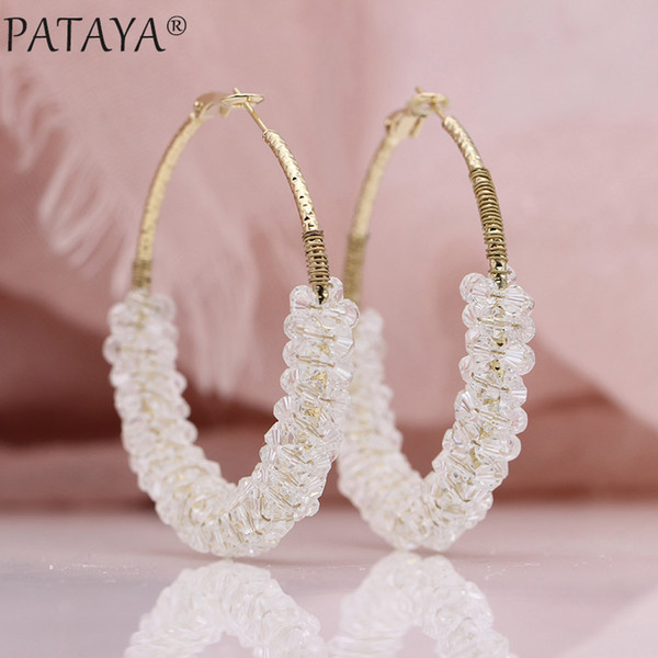 PATAYA New Women Irregular Crystal Big Circle Long Earrings 585 Rose Gold Wedding Party Jewelry White Luxury Fine Dangle Earring C18111901