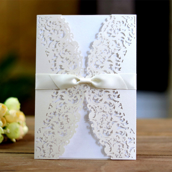 Spring white wedding invitation elegant hollow laser cut invitation jacket party paper favors free printing free ship