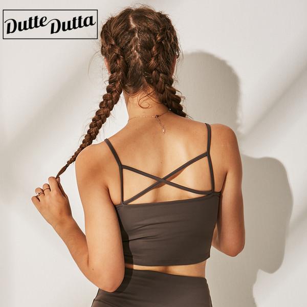Dutte Dutta Sports Bras Cross-Back Padded Seamless Bra for Women Yoga Gym Workout Fitness WX1171