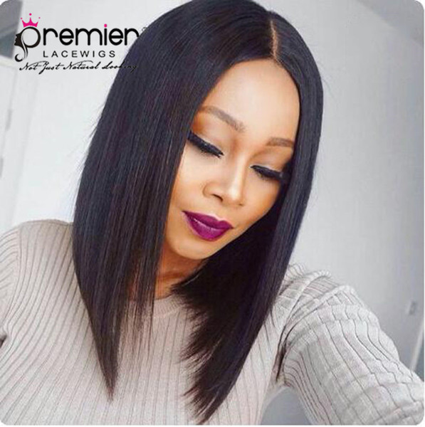 Premier 360 Lace Frontal Wigs 4.5 Inches Deep Parting Brazilian Virgin Hair Silky Yaki Straight Short Bob 150% Density Human Lace Wigs