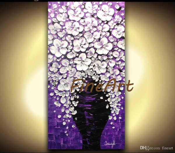 handmade painting art nature acrylic painting palette knife purple white flower oil painting Bouquet in Vase pictures canvas unique gifts Ku
