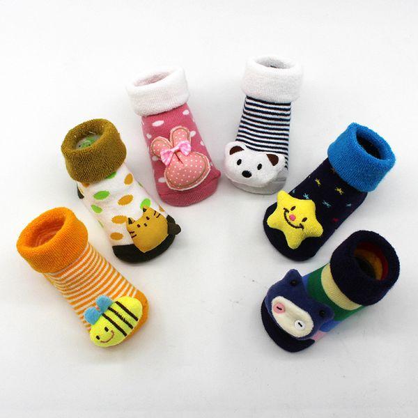 0-12M Socks Baby Cotton Cartoon Cute Animal Newborns Sole Boot Slipper Child For Boy Girl Babies Sock Anti-slip Floor Wear BTTF