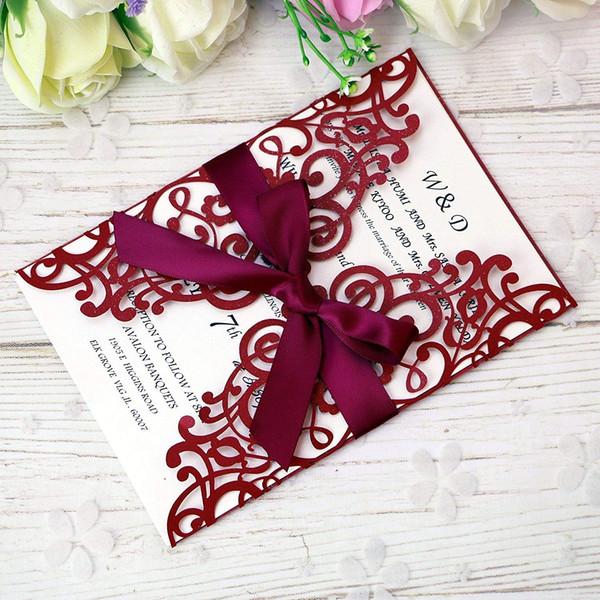 Compre 2019 Nuevo Envío Gratis 5 7 Tarjetas De Invitación Rojas Con Cinta Para Casarse Despedida De Soltera Compromiso Cumpleaños Graduación Fiesta