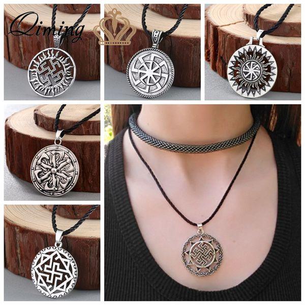 Nordic Men Viking Collar Rusia Talismán Eslavo Amuletos Símbolo Vintage Retro Joyería Religiosa Mujeres Novio Regalo Collares