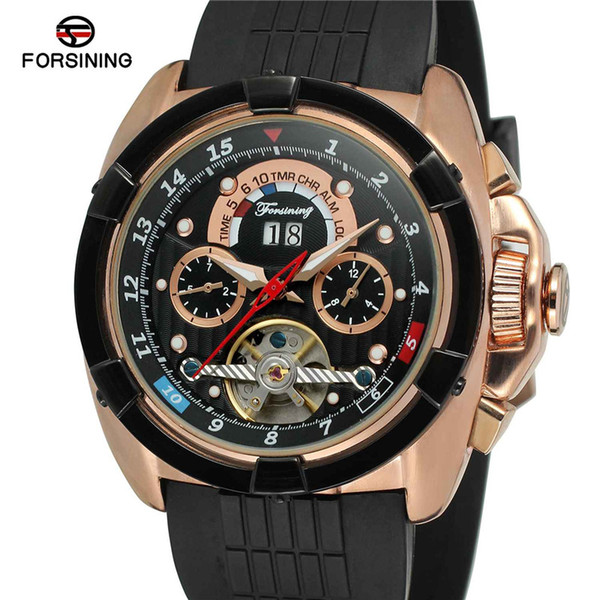 FORSINING Mens Watches Sport Clock Male Top Brand Luxury Skeleton Automatic Mechanical Date Men Watch 0032