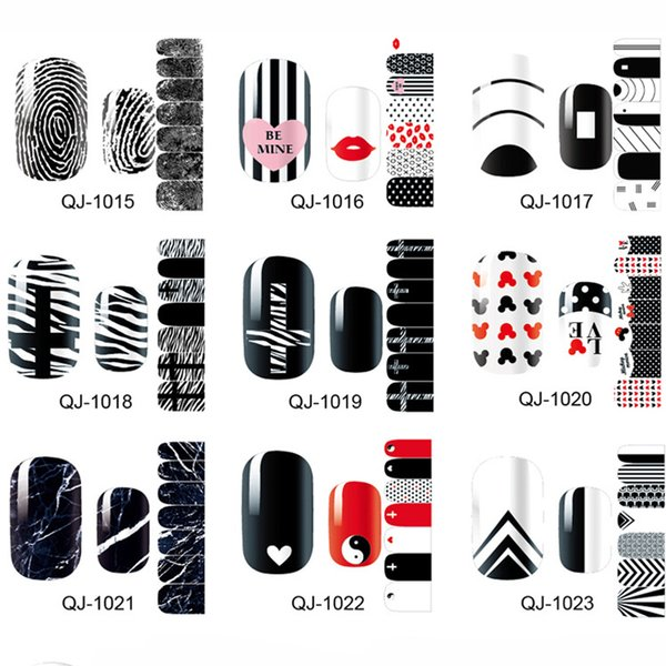 New Fashion Nail Strip Nail Polish Art Sticker Patch Foil DIY Manicure Beauty Decoration Tools Black & Red Classical Type