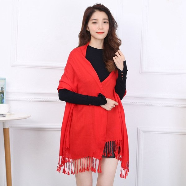 New China Red Twill Cotton Solid Color Tassel Shawl Warm Ladies Autumn and Winter Gifts High Quality Soft Thirteen colors Large Scarf
