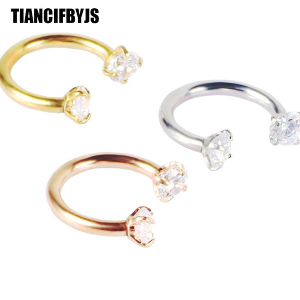 TianciFBYJS Stainless Steel Circular Barbells Horseshoe Nose Lip Ring BCR Ear Body Piercing Jewelry Earrings Tragus Helix Bar