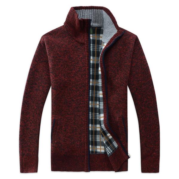 Laamei 2018 Autunno Inverno Uomo Zipper lavorato a maglia cappotto addensato Faux Fur lana maglione Giacche MenCasual maglieria camicetta