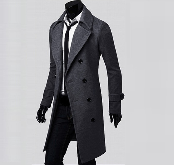 best selling 2018 Winter Men Long Coat Slim Stylish Trench Coat Double Breasted Long Jacket Parka Solid Fashion Male Wool