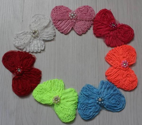 30pcs 9cm chiffon fabric hair clip bow flower for girls hair accessories,hair clip flowers for babies,girls hair bow flowers