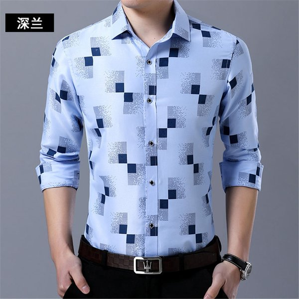 Working Clothing Men Shirt Big Size Hot Sale Male 2018 Blusa Plaid Sexy Cool Office Blouse Novelty Fashion Novelty Party Shirt