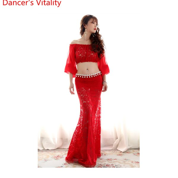 New Arrival Belly Dance Cut out Perspective Costume Sexy Slim Fit Set for Women Girls Oriental Indian Dancing Top Skirt Suits