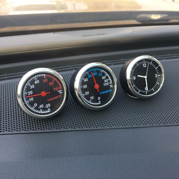 Car Clock Mechanics Quartz Mini Watch Time For Auto Interior Decoration Ornaments Anti-Scratch Hygrometer