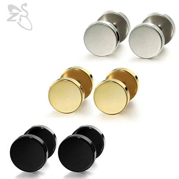 1 Pair 3-14mm Stud Earrings Punk Fashion Round Fake Ear Plug Surgical Steel Piercing Tunnel Unisex Ear Piercing Body Jewelry