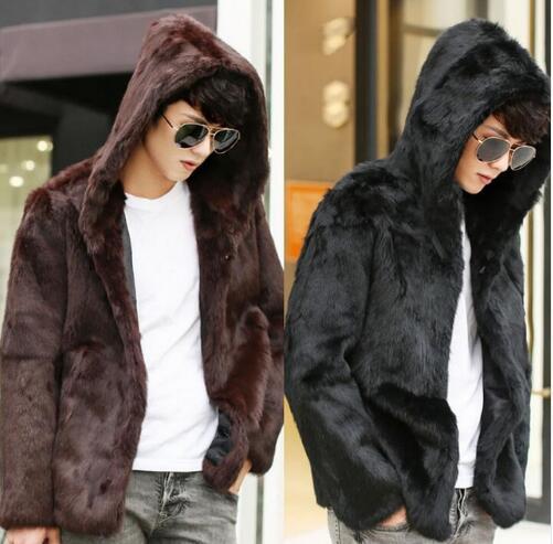 Inverno con cappuccio faux rabbit pelliccia cappotti mens addensare cappotto caldo mens giacche in pelle marrone cappotti masculino chaqueta nero
