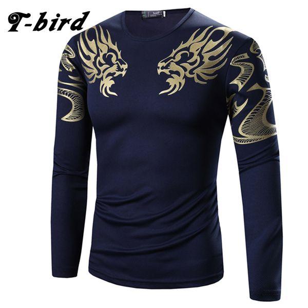Wholesale-T-Bird 2017 Mens T Shirt Printing Fashion Long Sleeve Cotton T-Shirts Casual O-Neck Tshirt Men Tee Homme High Quality Tees Tops