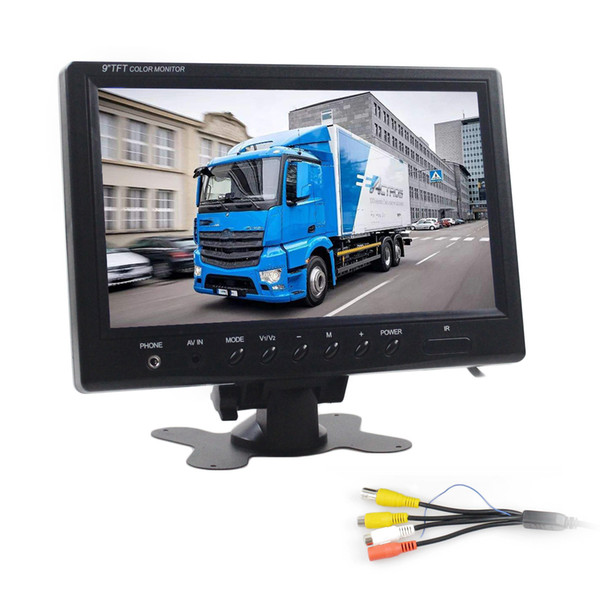 9 inch TFT LCD Car Monitor Display Car Reverse Rear View Monitor Screen with BNC / AV Input Remote Control DVD VCR