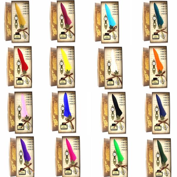 Pluma de plumas de Harry Potter Pluma de pluma de 18 colores Pluma de caja de regalo de San Valentín Harry Potter Pluma de escuela de Office Office sin tinta GGA851