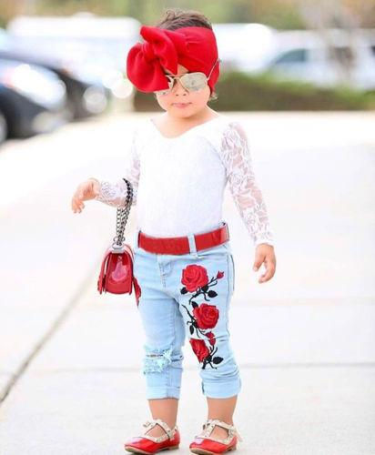 2Pcs Toddler Kids Baby Girls Lace Tops Long Sleeve Blouse + Rose Pattern Jeans Denim Hot Pants Outfits Set Autumn Clothes