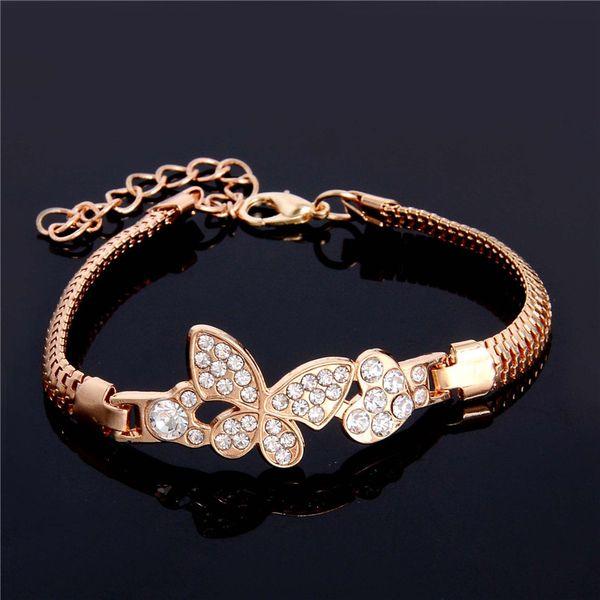 SHUANGR Gold-Color Stellux cristallo austriaco farfalla e cuore braccialetto di fascino per le donne Wedding JewelryTH2862