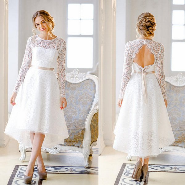 Discount Simple Modest Lace Log Sleeve Wedding Dresses Open Back ...