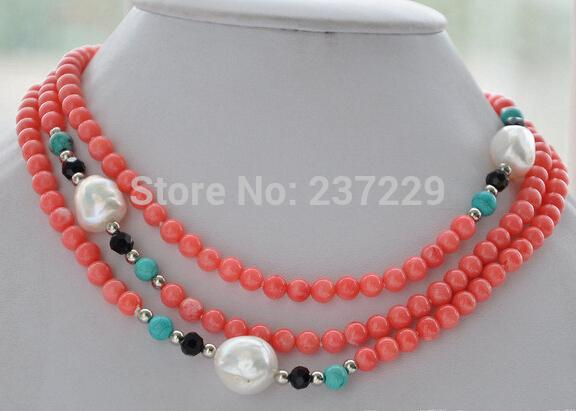 Wholesale price ^^^6mm round pink coral blue baroque white freshwater pearl necklace 50inch
