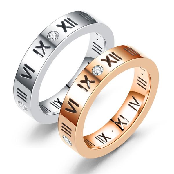 3de05bd6fb 10pcs Korean Version of Titanium Steel Rose Gold Roman Numeral Diamond Ring  Men and Women Couple