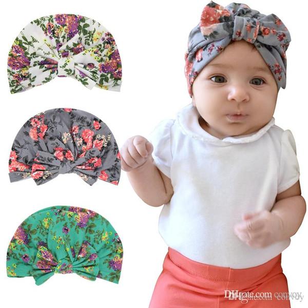 Compre Los Niños Del Bebé Estampado Floral Sombreros De Orejas De ...