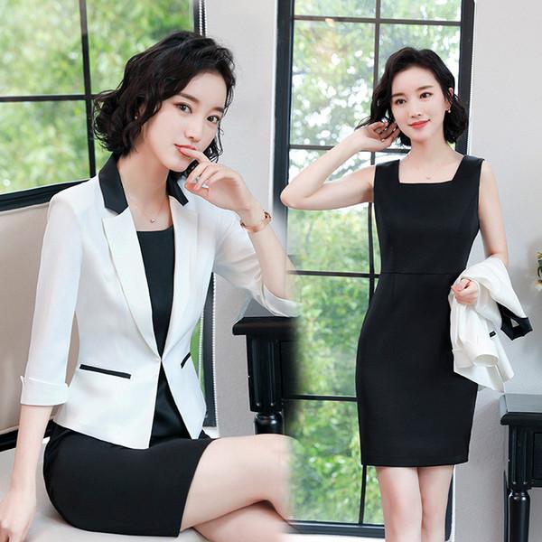 2018 New OL Women Mini Dresses Suits Fashion Office Lady Women Work Wear Blazer And Dress Two Piece Set For Female