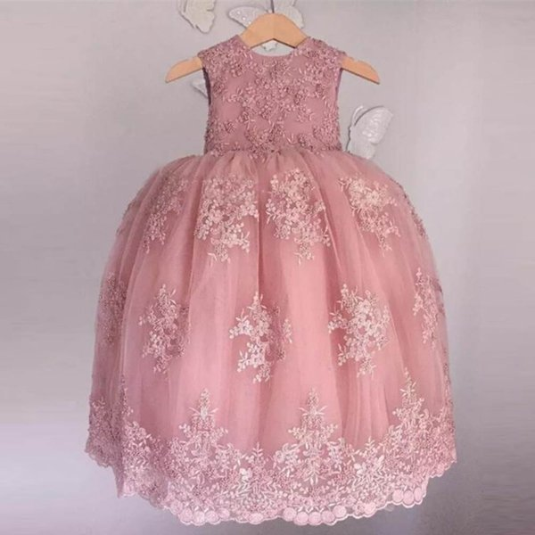 Cute Ball Gown Ankle Length Flower Girls Dresses Jewel Neck Bow Tie Toddler Birthday Gowns Lace Appliques Beads Kid Prom Skirt