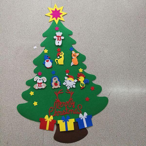 Toddler Christmas Tree.2017 New Kids Diy Felt Christmas Tree Set With Ornaments Children Gift Toddler Door Wall Hanging Preschool Craft Xmas Decoration Lin3331 Ornaments