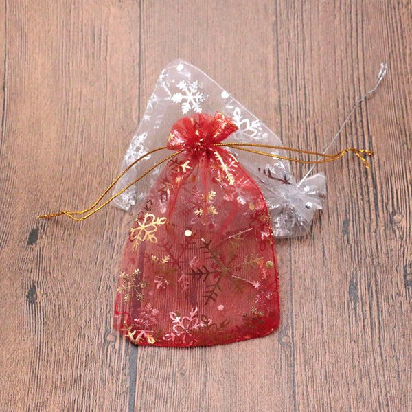 2Colors Snowflake Organza Jewelry Wedding Gift Bags 9*13cm Christmas Candy Gift Packaging Bag Toy Mesh Bags