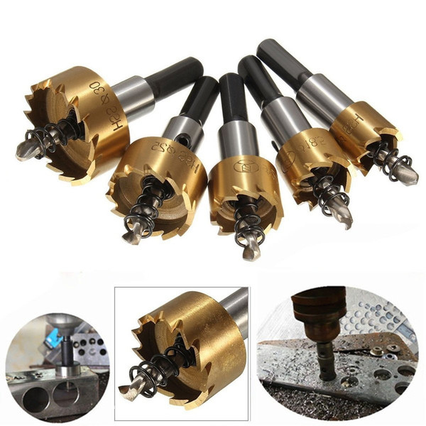 5pcs Power Drill Tools Set High Speed Steel HSS Drill Bit Hole Saw Set Stainless Steel Metal Alloy Kit 16mm/18mm/20mm/25mm/30mm