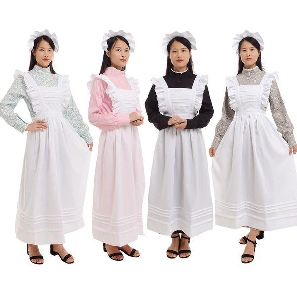 Women Vintage Castle Housekeeper Dress Maid Costume British Style Prairie Rural Flower Print Cotton Dress White Pinafore