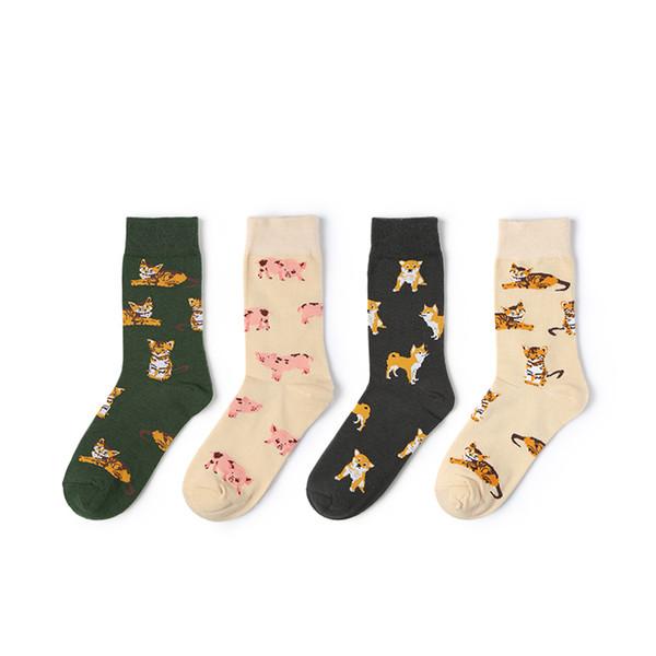 VVQI mulheres gato meias harajuku japonês meias bonitos Dos Desenhos Animados cão gato porco Animal ankle kawaii coreano caixa de presente de moda algodão