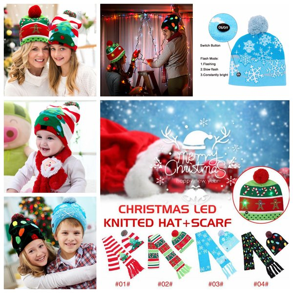 4styles LED Knitted Christmas Hat scarf set Kids Warm Hat New Year Christmas Decor Party Tree Snow Knitted Cap scarf kids xmas gift FFA1220
