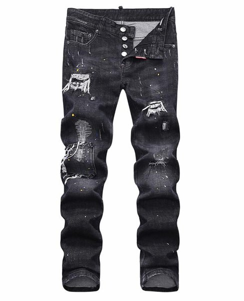 European standing men's jeans, men's jeans, a pair of skinny jeans and black embroidered skulls#060