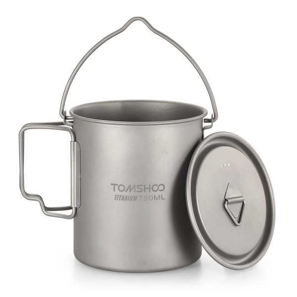 TOMSHOO Titanium Pot Cup Mug 750ML Ultralight Outdoor Tableware Travel Coffee Tea Camping Pot Water Cups Cooking With Lid Handle