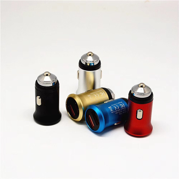 Mini metal usb Car Charger Dual USB port Mobile Phone Car Cigar Lighter 2.1A 1A Universal Car Charger for iphone 9