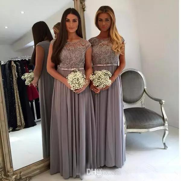 Scoop Neck Grey Long Bridesmaids Dresses with Lace Appliques 2019 A-line Capped Sleeves Chiffon Maid of Honor Dress Plus Size