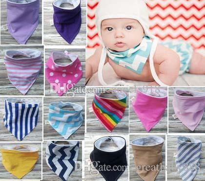 38 renk INS 2 Katmanlı bebek önlükler el yapımı bebek su geçirmez üçgen bandaj pamuk çift üçgen bandaj Toka bebek drool havlu bibsC1749