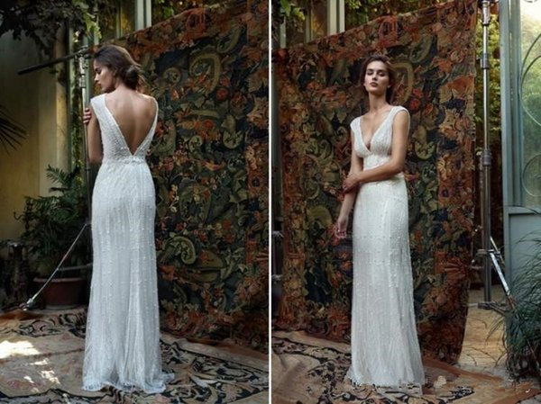 best selling Real Pictures 2018 Luxury Crystals Summer Sheath Boho Wedding Dress Open Back With Heavy Beading Pearl Floor Length Bridal Gowns From China