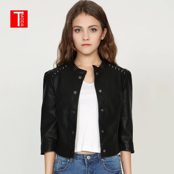 2018 Autumn Winter Women Faux Leather Jackets Coats Lady Pu Motorcycle Black Rivets Short Coat Streetwear Biker Outerwear