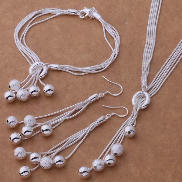 Bijoux en argent sterling 925 ensembles glands bracelets boucles d'oreilles et colliers boule pendentif bracelet en argent plaqué boucle d'oreille collier modèle NO.NE917