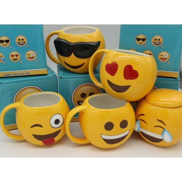 6 Designs Lovely Smiling Face Emoji Mug Porcelain Poop Shit Cup Cartoon Amused And Sad Cool Couple Mugs Coffee Cups