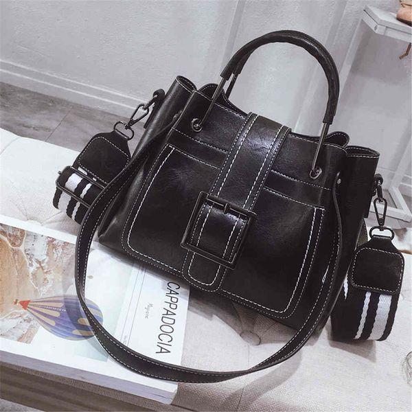2018 koreanische Version der neuen Retro Wild Bucket Bag breite Schultergurt Umhängetasche Messenger Bag Portable Handtasche