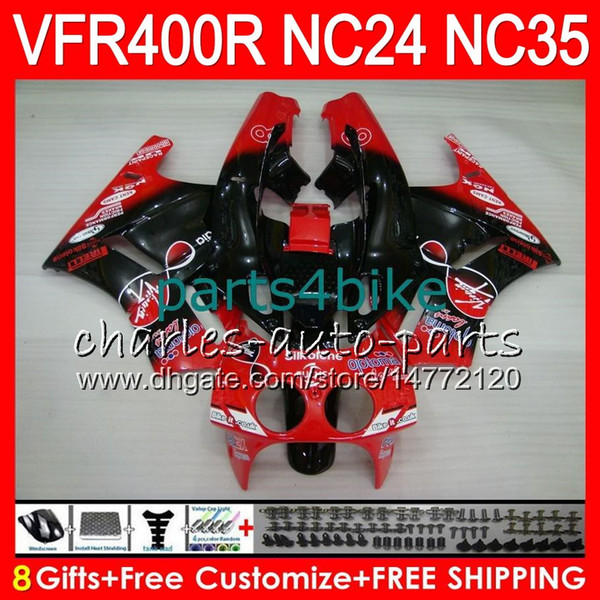 RVF400R For HONDA VFR400 R NC24 V4 VFR400R 87 88 94 95 96 81HM82 RVF VFR 400 R NC35 VFR 400R 1987 1988 1994 1995 1996 red black top Fairings